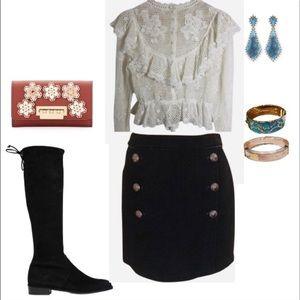 WHBM Black Textured Skirt